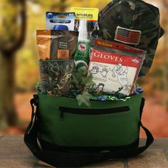 Hunting Gift Basket - camo cooler, thermos with coffee beans, mug, camo hat, swiss army knife, flashlight, warm gloves
