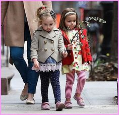 Double the style, double the fun!  Sarah Jessica Parker's adorable twin girls Tabitha and Marion are becoming every inch the miniature fashionistas.