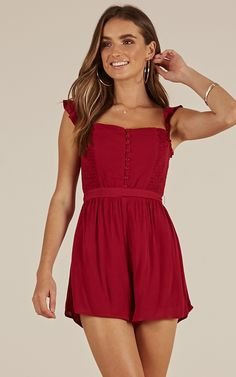 Showpo A Girls Way playsuit in wine - 10 (M) Rompers & Jumpsuits