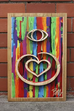 """""""Conscious Love"""" - by Buggsy Malone © 2013 (acrylic on wood). First Love, Wood, Painting, Art, Art Background, First Crush, Woodwind Instrument, Timber Wood, Painting Art"""