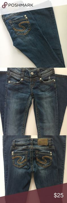 """Silver jeans size 24 Silver jeans Manchester Flare. Size 24. 33"""" inseam. Some distressing. In great condition. Silver Jeans Jeans Flare & Wide Leg"""