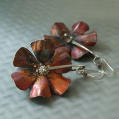 Copper Flower Spurs with Sterling