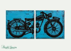 Vintage Motorcycle Wall Art  Custom Made 12x24 by RightGrain
