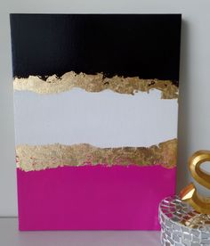 Kate Spade Inspired Acrylic Canvas Painting Black Pink White Gold Leaf Wall Home Office Decor, Trendy Art, Stylish Art, Fashion Art, Chic by SomethingPrettyArt on Etsy https://www.etsy.com/listing/288722839/kate-spade-inspired-acrylic-canvas