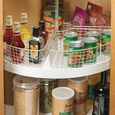 Classico Lazy Susan Basket - Satin Nickel / Wedge Dimensions: x x Material: Steel Color: Satin Nickel Wedge-shape design to maximize corner cabinets Features built-in Handles Easy to remove Purchase 4 for form a complete circle Smart Kitchen, Kitchen Pantry, Diy Kitchen, Kitchen Storage, Kitchen Decor, Kitchen Ideas, Wooden Kitchen, Cabinet Storage, Pantry Storage