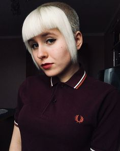 Fred Perry Girls 2782 Skinhead Girl, Skinhead Fashion, Short Hair Dont Care, Short Hair Cuts, Short Hair Styles, Chelsea Cut, Chelsea Girls, Penny Loafers, Ska