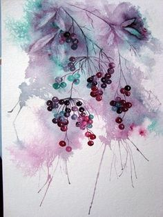 Watercolour Florals: Elderberries : Limited Palette (Quinachridone Magenta and Pthalo Green) Yvonne Harry Watercolor Fruit, Watercolor Landscape, Watercolor And Ink, Watercolour Painting, Watercolor Flowers, Painting & Drawing, Watercolours, Abstract Watercolor Tutorial, Image Painting