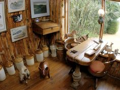 "Pablo Neruda's desk in Casa de Isla Negra, Chile. ""Fashioned out of a plank of wood that washed up on the beach. Pablo Neruda, Chile, In Loco, Workshop Studio, Wood Planks, The Good Place, Interior Design, Places, House"