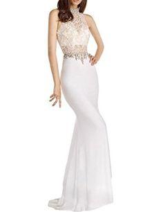 Amazon.com: LovingDress Women's Prom Dresses Lace & Spandex High Neck Sheath…