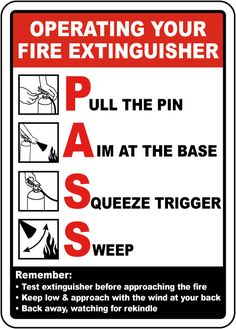 Operating Your Fire Extinguisher Sign - Fast shipping, direct from the USA manufacturer. Order your Operating Your Fire Extinguisher Sign today. Fire Safety Poster, Health And Safety Poster, Safety Posters, Fire Safety Training, Fire Safety Tips, Workplace Safety Tips, Office Safety, Safety Slogans, Safety Message