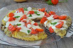 Tortino di patate e melanzane in padella una ricetta con verdure facilissima, un tortino che sembra una pizza, facile leggero e buono