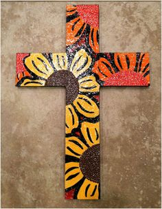 """12"""" x 16"""" hand painted wooden cross. $35.00, via Etsy."""