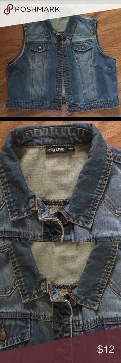 City Chic Large distressed denim vest! NWOT City Chic Large Distressed denim vest! NWOT City Chic Jackets & Coats Vests