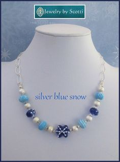 Blue Snowflake Silver Chain Necklace Statement by JewelryByScotti