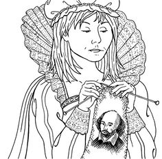 Shannon Sneedse did the illustrations for the upcoming book Defarge Does Shakespeare, the third in our What Would Madame Defarge Knit series edited by Heather Ordover. ❤️ #shareCPlove