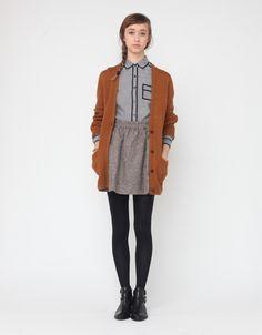 cardigan, wool skirt, black tights // needsupply