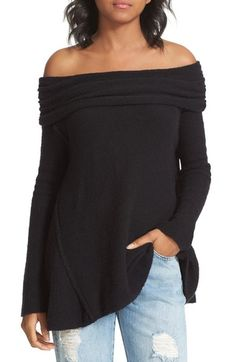 Cozy sweater styled with a swingy silhouette and a fold-over off-the-shoulder neckline for an of-the-moment finish.