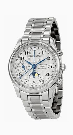 Longines Master Complications Mens Stainless Steel Chronograph Moon Phase Watch L2.673.4.78.6