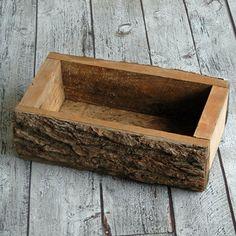 Rustic Wood Log Planter by territoryhardgoods on Etsy, $26.00