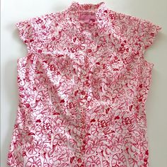 Lilly Pulitzer Shirt Cute for Spring Lilly Pulitzer Shrimp Cocktails & Butterflies shirt! Amazing scalloped button down and rounded collar! Size 4 EXCELLENT EXCELLENT CONDITION! Ready for your offers! TRADES Lilly Pulitzer Tops Button Down Shirts