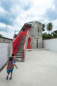 "Prachasongkroa Kindergarden School in Thailand by NPDA Studio | organic forms sit on a narrow site providing a ""hideaway"" and a sense of fun"