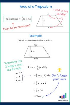 Area of a trapezium summary. Add to your board to help revise it. Gcse Maths Revision, Maths Exam, Math Worksheets, Math Resources, Math Made Easy, Vie Motivation, Math Notes, Math Formulas, Professor