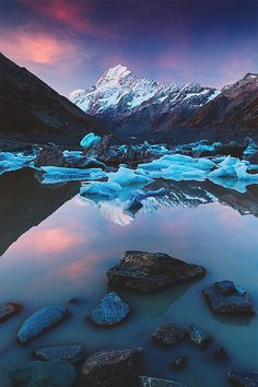 The Hooker Lake with Mount Cook while sunset in late April Copyright © 2014 Sven Müller. All rights reserved. Places To Travel, Places To See, Wonderful Places, Beautiful Places, Places Around The World, Around The Worlds, Seen, Beautiful Sites, Parcs