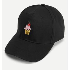 Cute Ice cream Embroidered Baseball Cap ( 6) ❤ liked on Polyvore featuring  accessories 785438064151