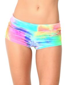 These shorts were made for a unicorn booty like yours! Not only are these shorts super soft to the touch, they're our favorite color too - rainbow! Add a splash of color to your next outfit with our Tie Dye Velvet Rave Booty Shorts!