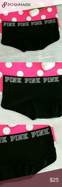 New Pink Vs Logo Boyshort Size Medium .NWT. Limited edition  Color Black.  Sold out online and in store.  Brand new rare pink victoria secret boyshort . never worn, never try.  Size MEDIUM.  Smoke and pet free home.  Fast shipping + extra gift. I don't trade hun. Only one left. PINK Victoria's Secret Intimates & Sleepwear Panties