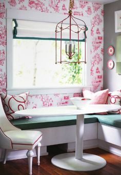 Pink & white toile wallpaper and green L shaped banquette #pink #banquette