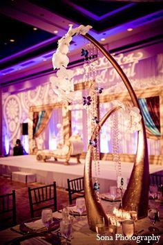 indian wedding reception decor centerpiece gold http://maharaniweddings.com/gallery/photo/12694