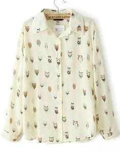 Beige Long Sleeve Owl Print Blouse - Sheinside.com
