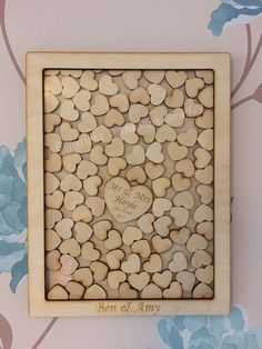 Make a wall art from your wedding guest book! Get the guests sign the little hearts then drop them in the frame. This listing is for 60/80/100