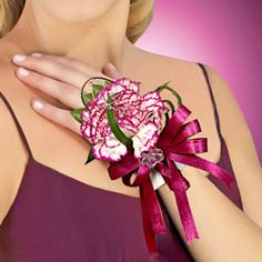 Purple and White Carnation Prom Wrist Corsage: minimize the bow and make it peppermint carnations?