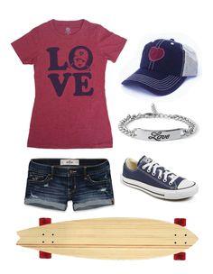 skateboarding, longboarding, outfit, love graphic tee, heart trucker hat, converse sneakers, longboard, skateboard girl