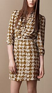 Silk Tweed Print Dress