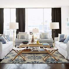Practicality in Home Decorating - Blue and White Living Room - Serena & Lily Living Room Inspiration, Room Inspiration, Family Room, Living Room Designs, Home Decor, House Interior, Room, Living Room Furniture, Room Design