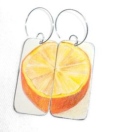 Recycled Tin Box Earrings . . . Orange Citrus Fruit by awisewoman