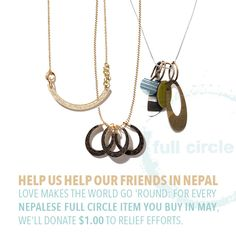For every Nepalese Full Circle item you buy in May, we'll donate $1.00 to the Vital Edge Aid relief effort. Eco Resin, Amber Color, Resin Jewelry, Washer Necklace, Effort, Stuff To Buy, Shopping, Women, Jewerly