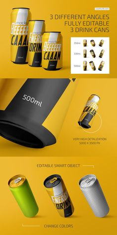 Create an amazing presentation with the Drink Can Mockup Bundle | #drink #can #beverage #coffee #soda #mockup #bundle #set #collection #showcase #packing #packaging #label #cola #softdrink #cafeine #water #metal #energy #juice #branding # psd #coke #aluminium #aluminum #carbonated #500ml #330ml #product #brew #cold #fresh #brand #canned #tin #ice #fruit #realistic #container