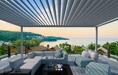 Mit einem modernen Lamellendach ziehen Sie in Ihrem Garten alle Blicke auf sich! Mehr Infos finden Sie auf unserer Homepage. Pergola, Outdoor Furniture, Outdoor Decor, Modern, Nap, Design, Home Decor, Home Layouts, Summer Garden