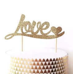 Hey, I found this really awesome Etsy listing at https://www.etsy.com/listing/218685757/love-and-heart-glitter-cake-topper-gold