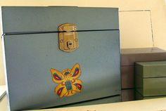 Metal File Box Collection - Vintage Set of 3 - Retro Colors