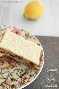 Lemon & Date Slice is such a classic recipe. and is absolutely delicious! A delicious date filled base covered in tangy lemon icing. Lemon Recipes, Baking Recipes, Sweet Recipes, Cake Recipes, Lemon Desserts, Freezer Recipes, Date Slice, Gateaux Cake, No Bake Treats