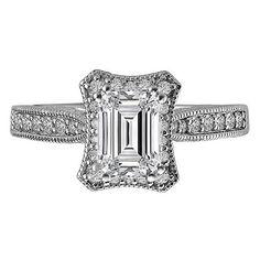 Engagement Ring - Emerald Cut Diamond Vintage Pave Engagement Ring & Matching Wedding Ring in 14K White Gold