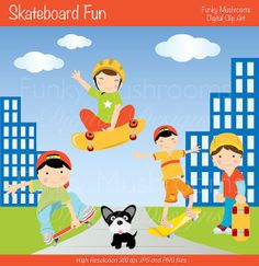 Digital Clipart - Skateboard Fun for Scrapbooking, Invitations, Paper crafts, Cards Making, commercial use INSTANT DOWNLOAD printable