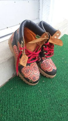 Hey, I found this really awesome Etsy listing at https://www.etsy.com/listing/207373771/fiore-rosso-custom-timberland-boots