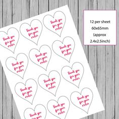Heart stickers business stickers thank you by PaperSpaceBoutique