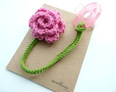 Pacifier Clip--Any Color--Crochet Flower pacifier clip--Baby Girl accessories--Sweetlace Shop